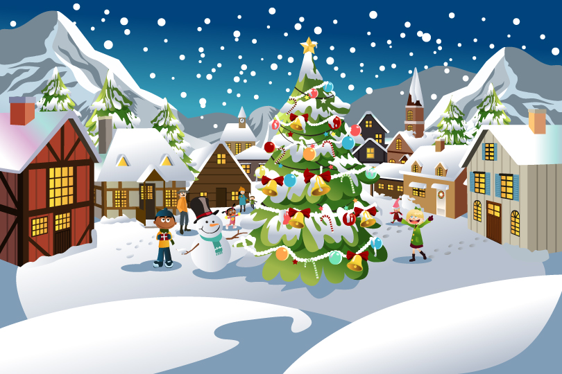 Christmas Scene illustration Vector