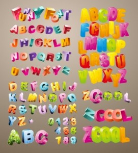 Three Dimensional Cute Letters 1