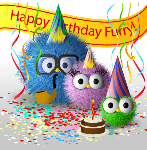 Carton Happy Birthday Furry Card