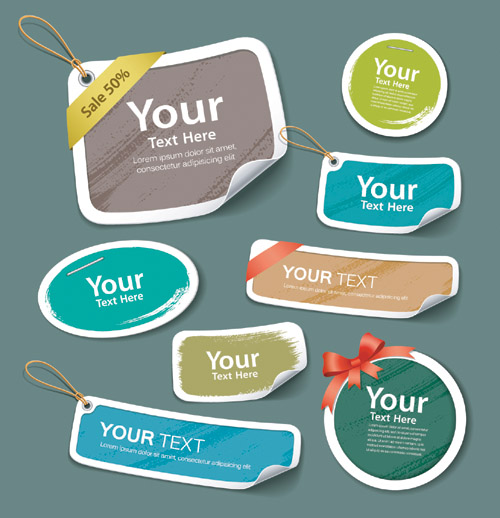 colorful label tag design free vector graphic download