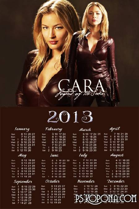 Calendar for 2013 - Legend of the Seeker - Cara