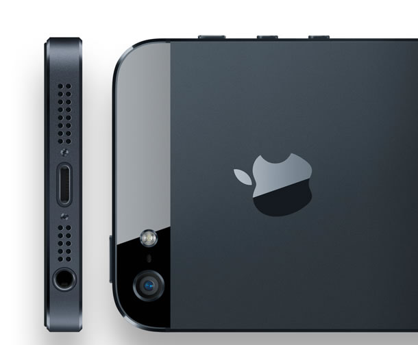 iPhone 5's top and back