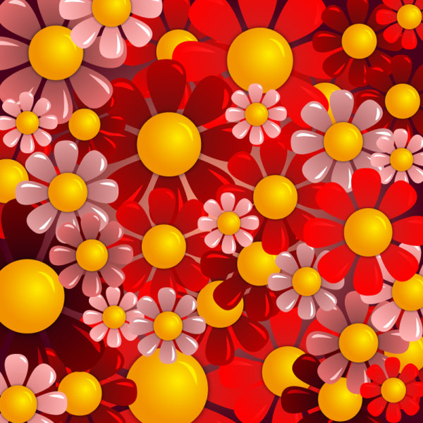 Colorful flowers banner and vector background 5