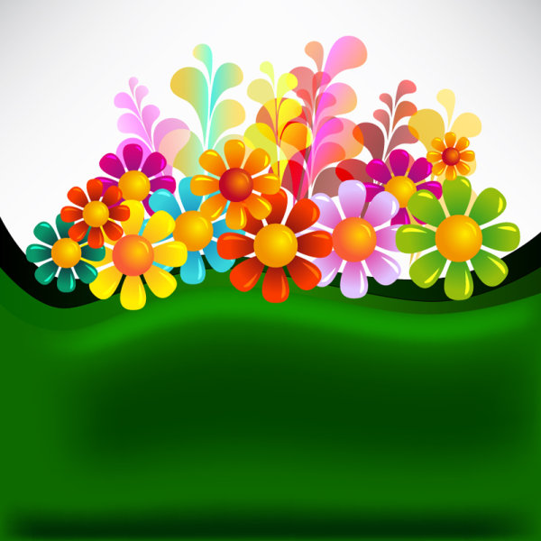 Colorful flowers banner and vector background