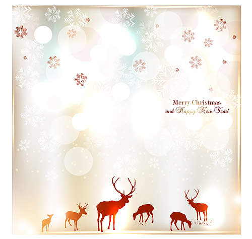 elk merry christmas and happy new year invitation free vector graphic download