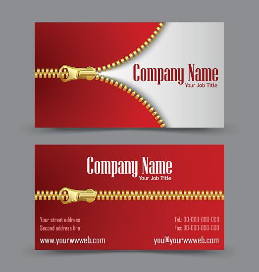 Golden zipper business cards