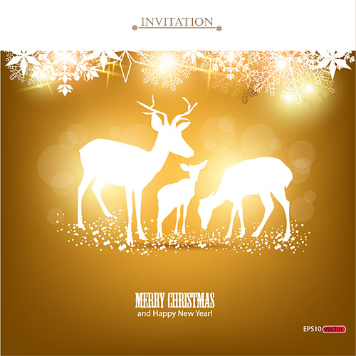 merry christmas and happy new year invitation free vector graphic download
