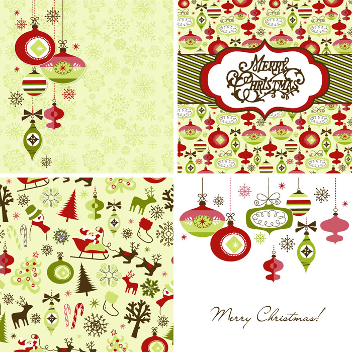 Vintage Style Christmas Cards 3  Free Vector Graphic Download