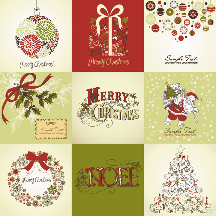 Vintage Style Christmas Cards  Free Vector Graphic Download