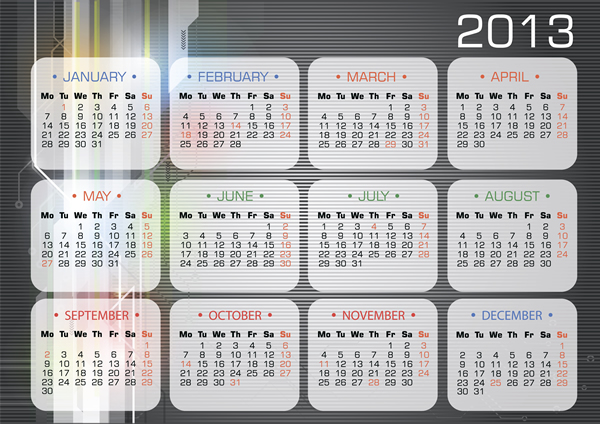Calendar Grid 2013 vector free download