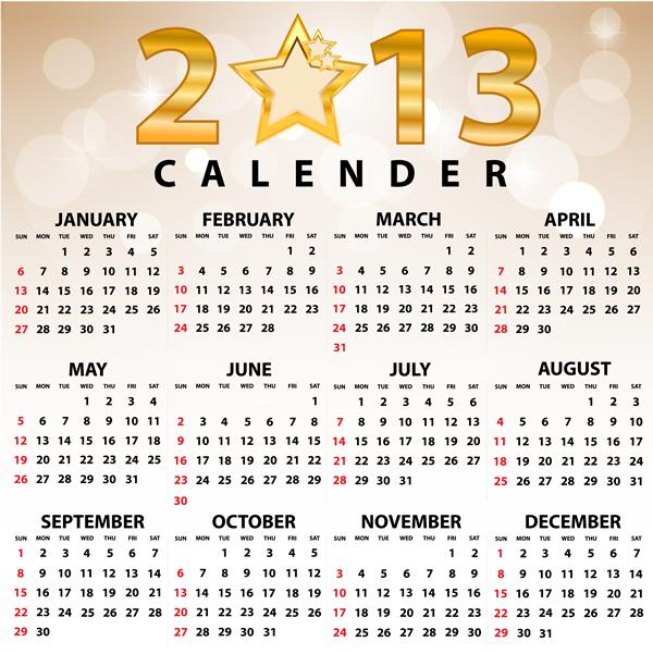2013 Calendar Grid