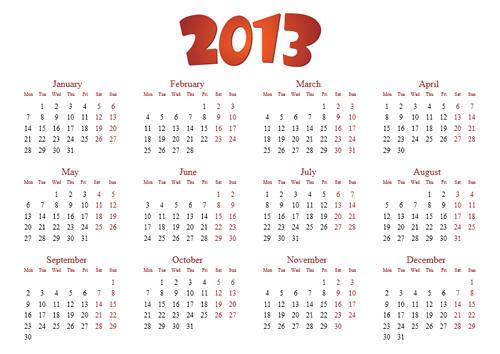 Calendar Grid 2013 52