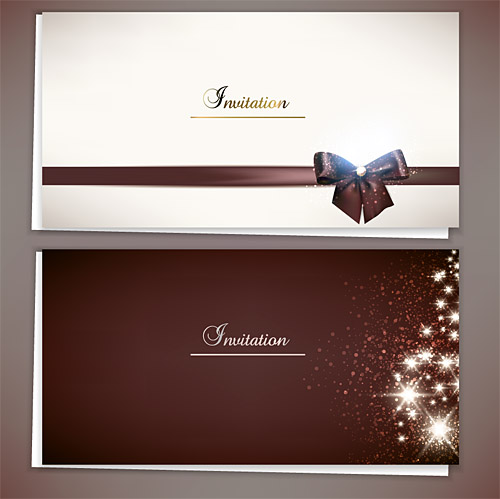 Christmas Invitation Cards with Ribbon