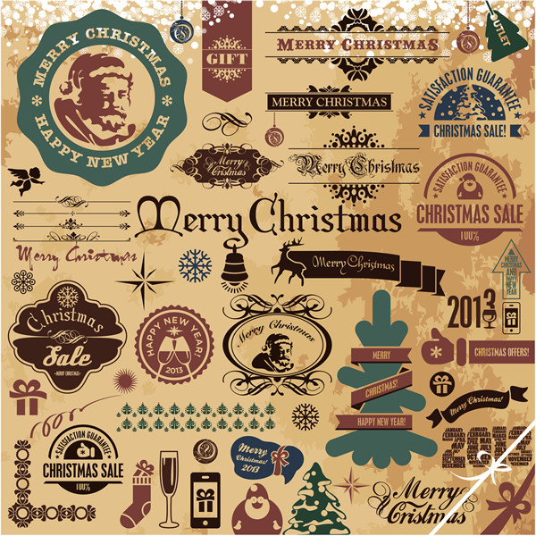 Christmas Labels  amp  Design Elements vector free downloadVintage Christmas Ornaments Clipart