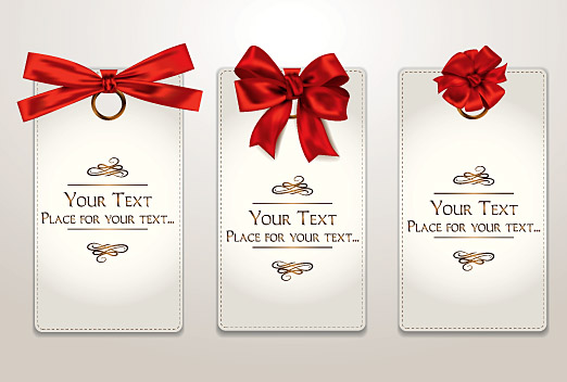 Holiday Gift Cards With Red Ribbons And Bows 2
