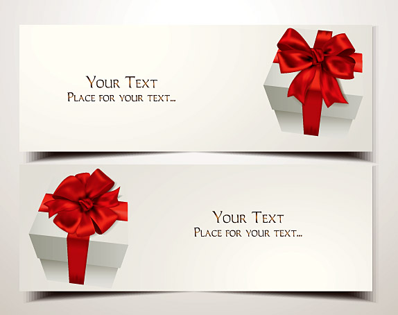 Holiday Gift Cards With Red Ribbons And Bows