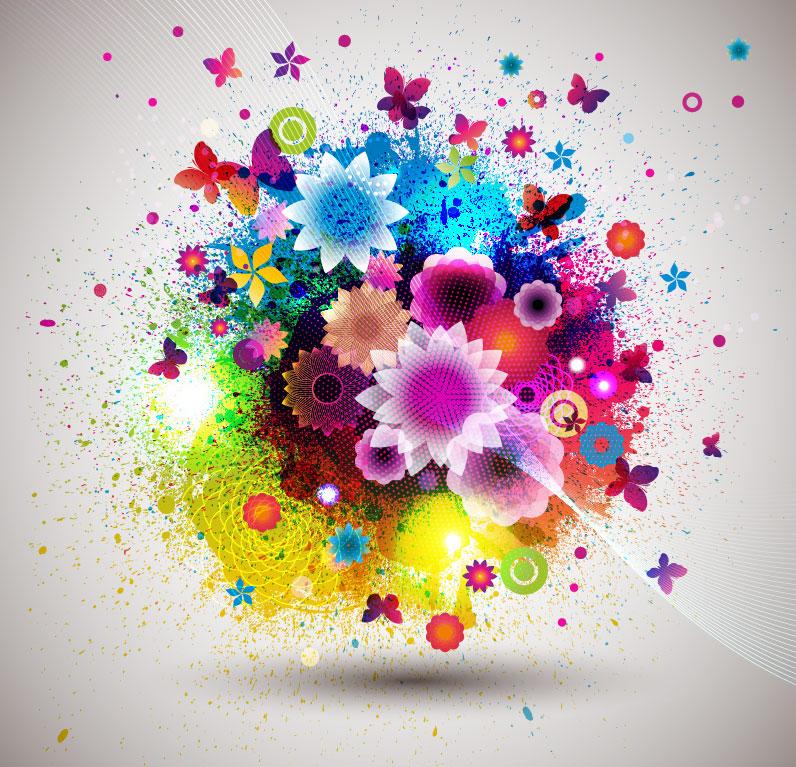 Colorful Floral Frunge