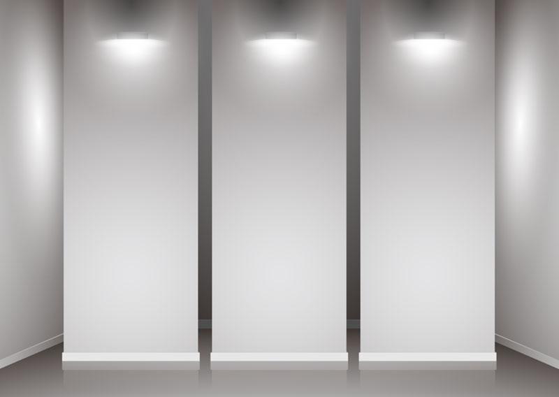 Indoor exhibition hall with walls 2