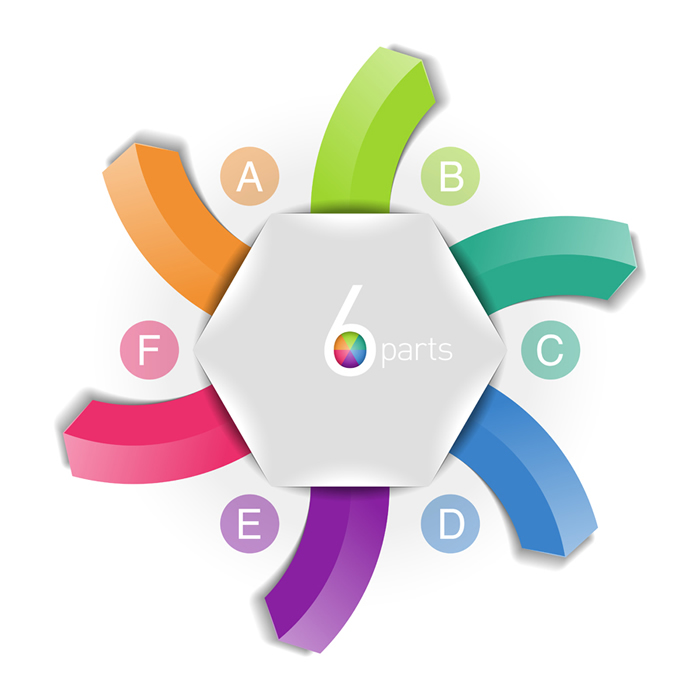 Infographics Colorful 6 Parts Tag