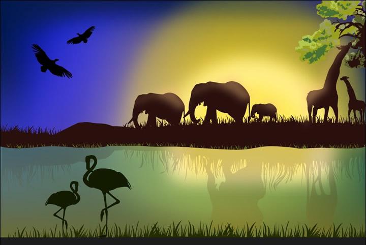 Cartoon Animal silhouettes