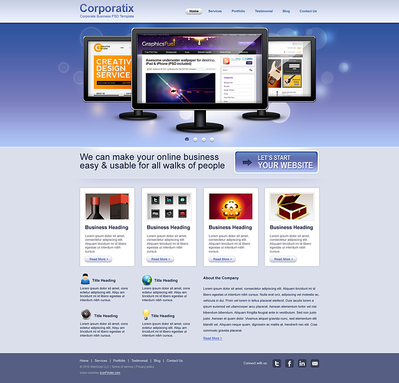 Corporatix Web Template psd
