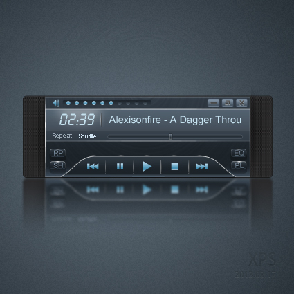 Dark Blue Music Player