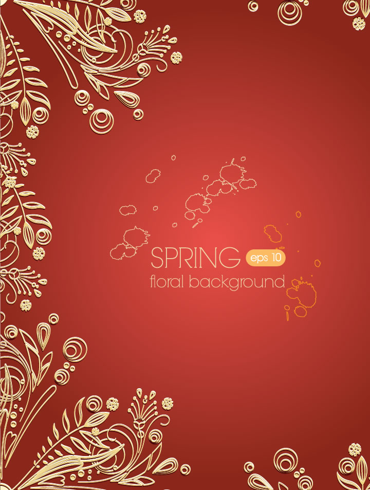 Golden Decorative Flower Background