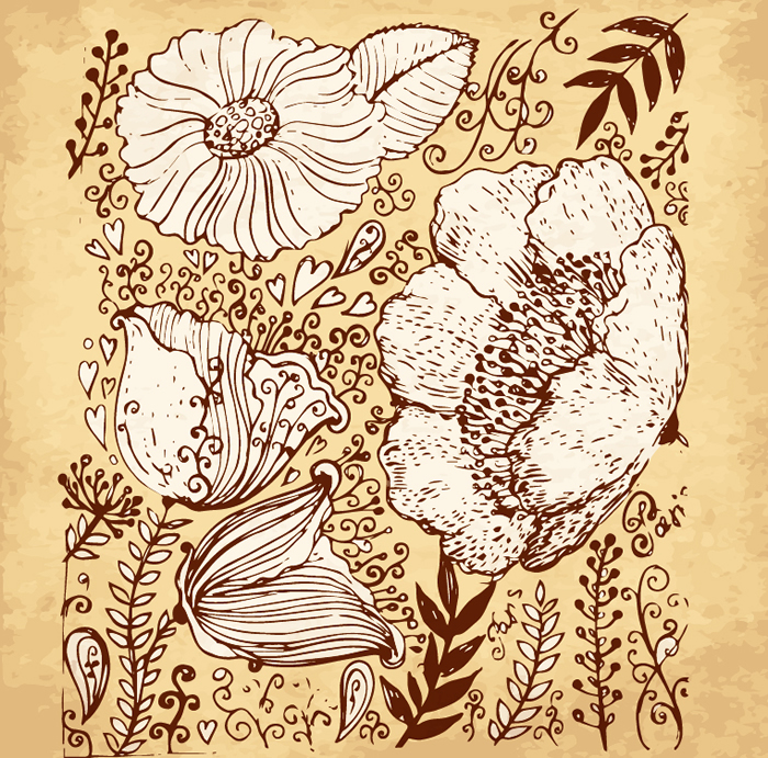 Hand Drawn Retro Flower
