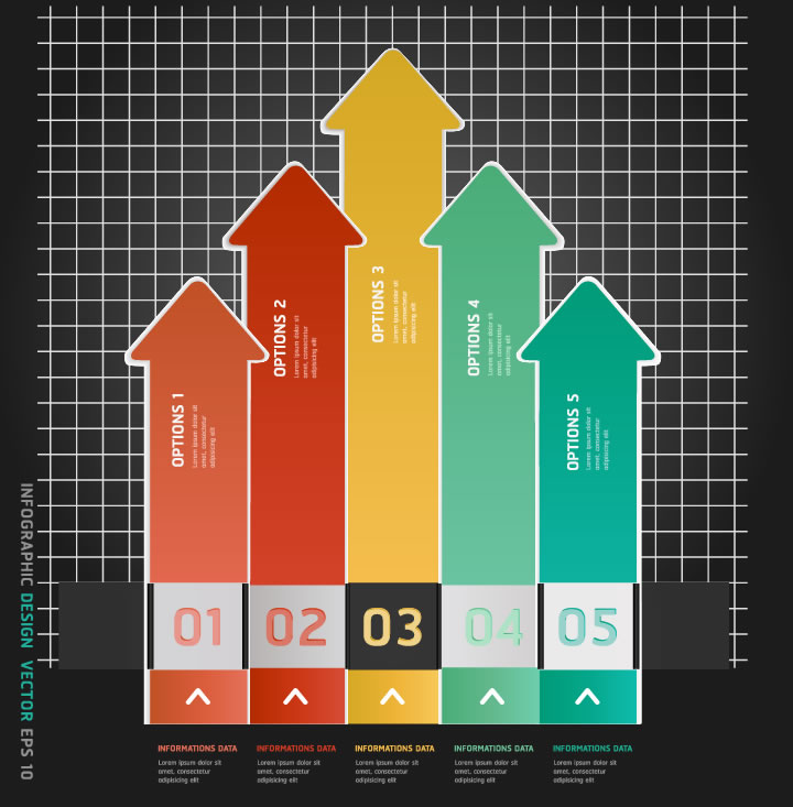 Infographic Arrows Number Design