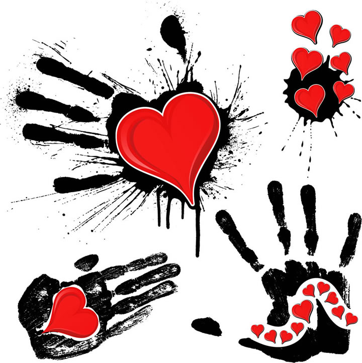 720 x 722 jpeg 108kB, Ink Handprint with Hearts Vector free download