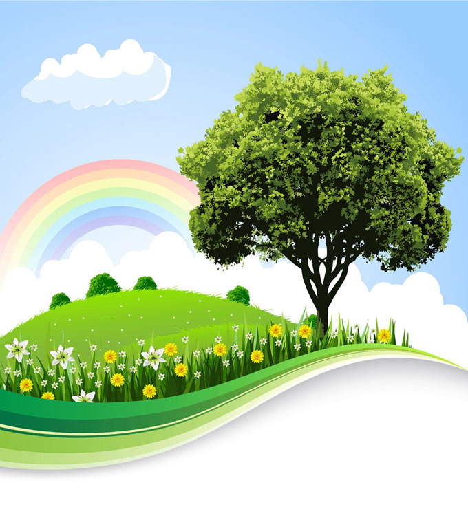 Rainbow Tree Background