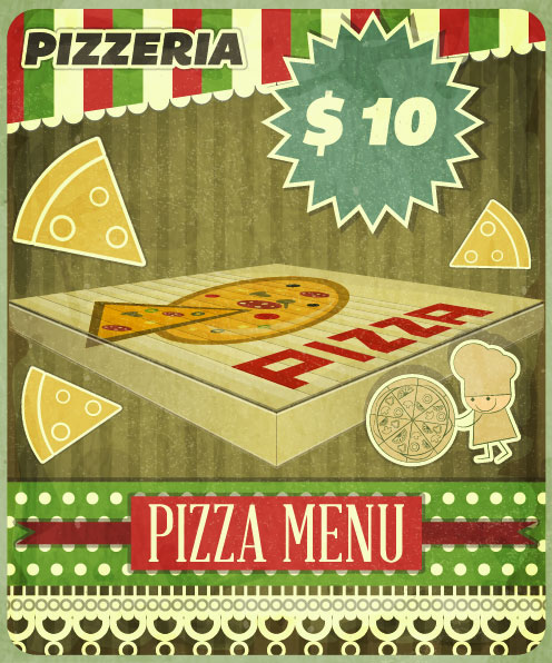 Retro Pizza Menu