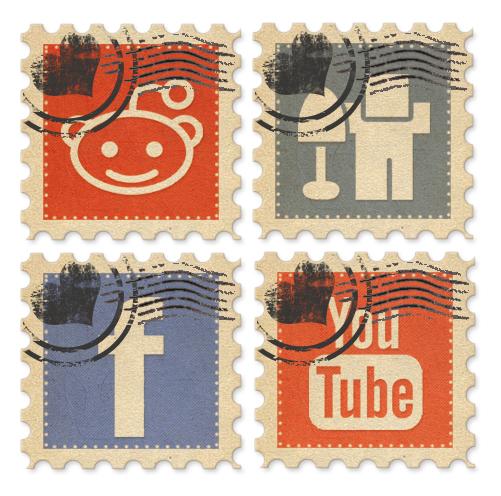 Retro Stamp Social