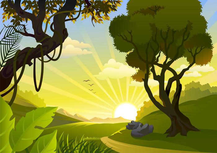 Sun Trees Landscape