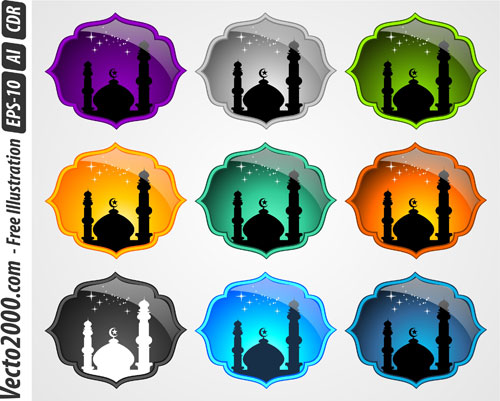 Varian Color Background With Mosque