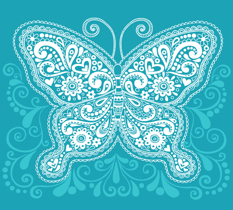 Blue Pattern Butterfly