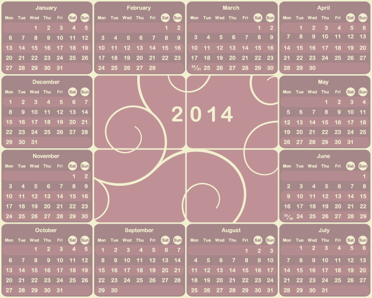Calendar 2014 18 Vector free download