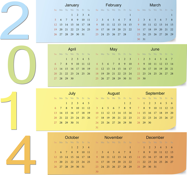 Calendar 2014 8 Vector free download