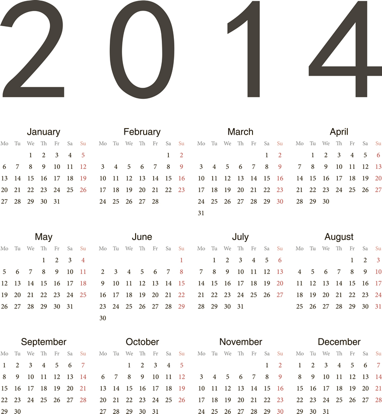Calendar 2014 9 Vector free download