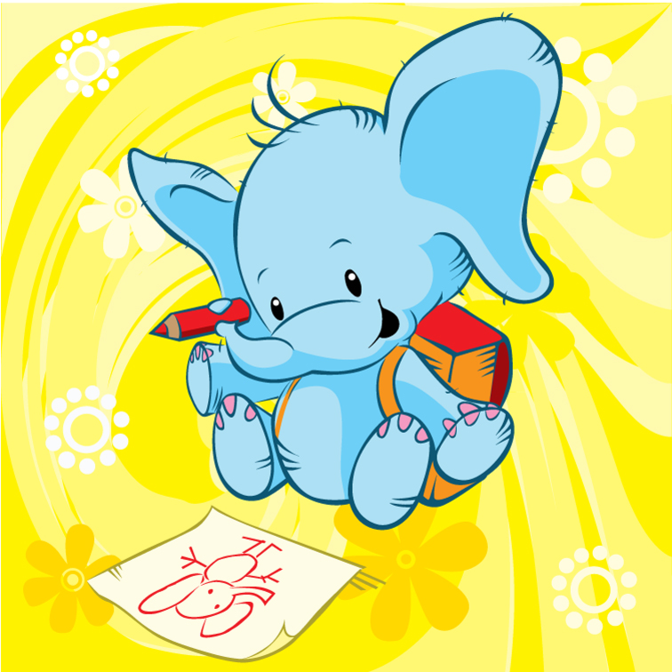Cartoon Painting Baby Elephant