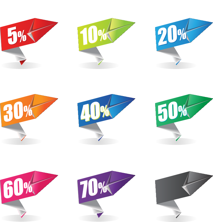 Colorful Origami Sale Label