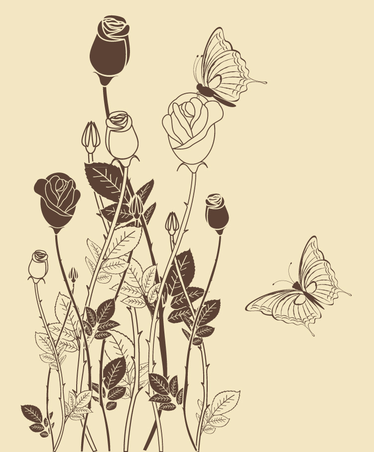 Line Drawing Rose Pattern