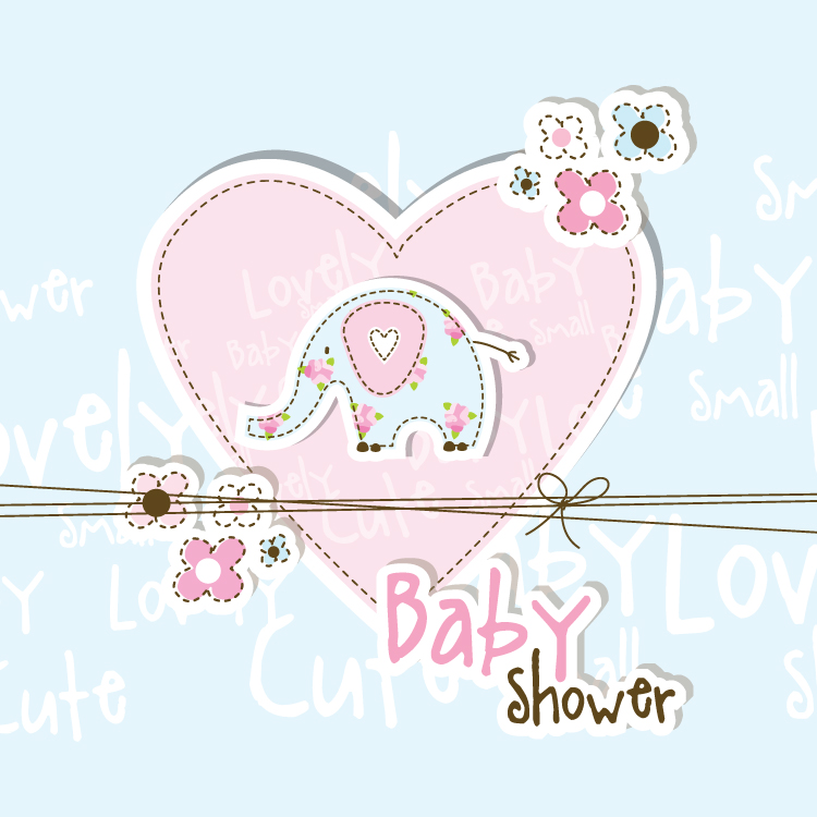 lovely baby shower free vector graphic download