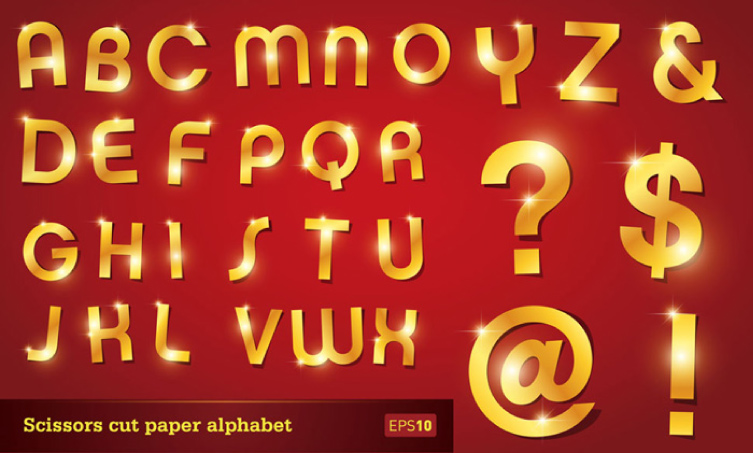 Scissors Cut Paper Alphabet