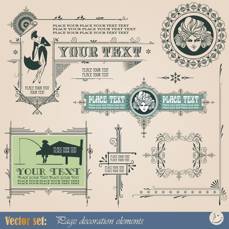 Vintage Frame Decoration Elements