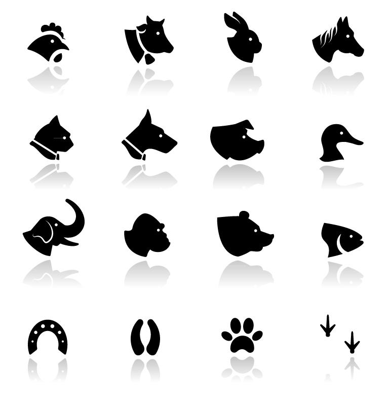 Animal Heads Silhouette