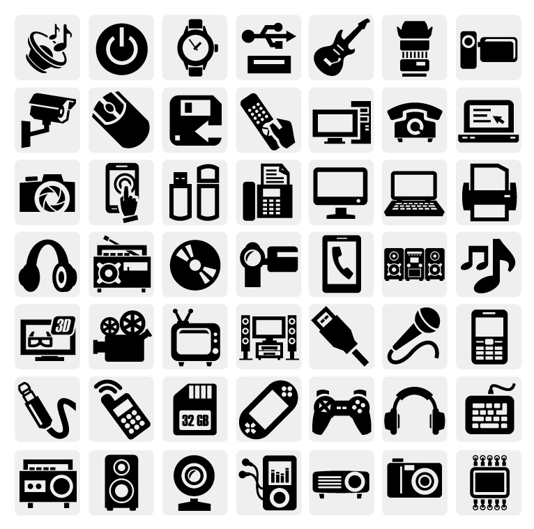 Black and White Icon Set | Free Vector Graphic Download