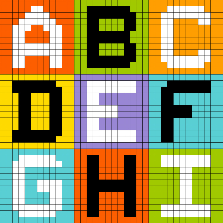Color Dot Array Letters