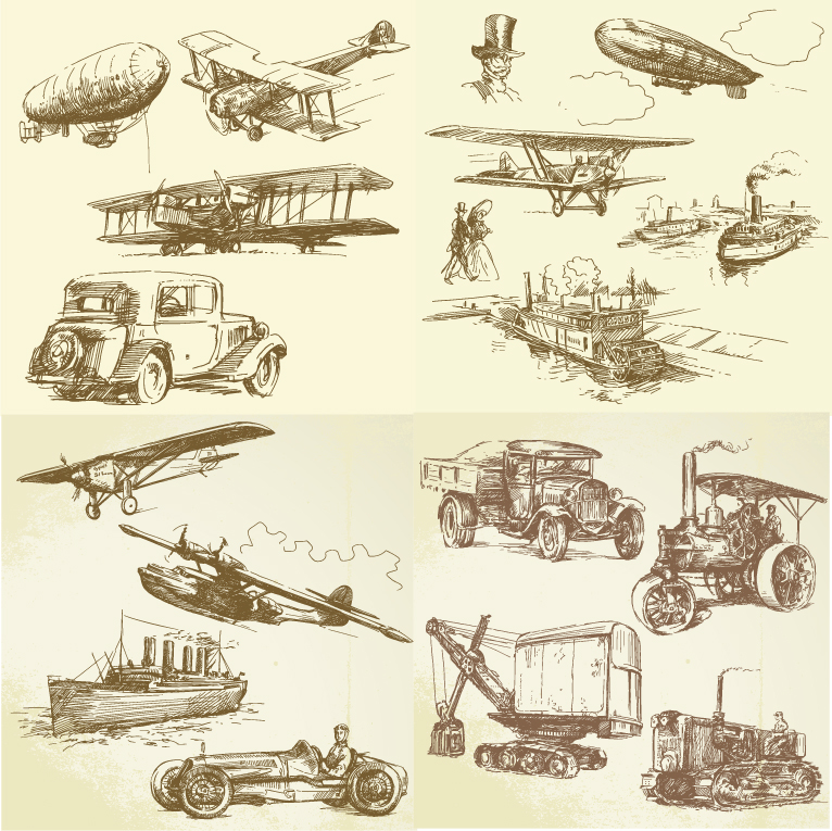 Hand Drawn Retro Transport Elements