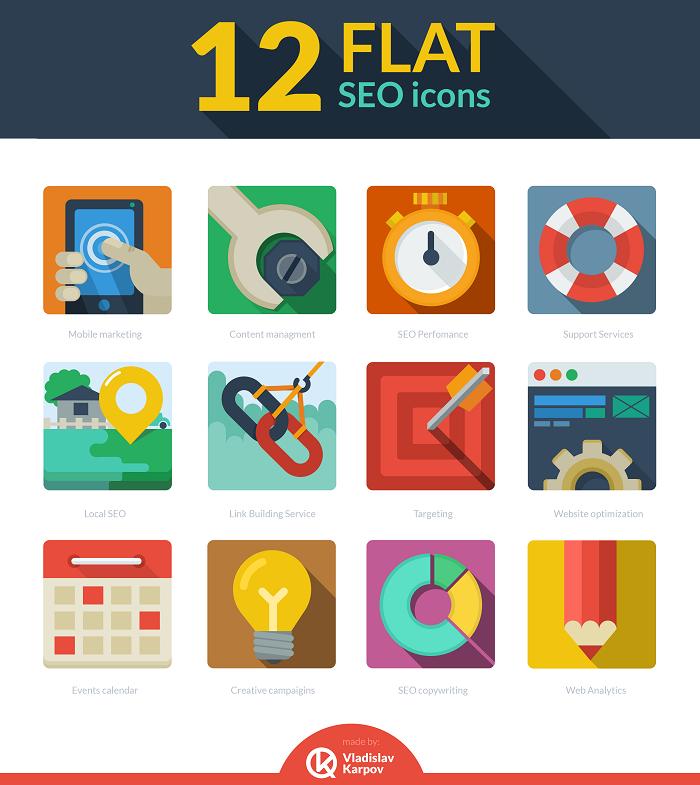 12 Flat Seo Icons